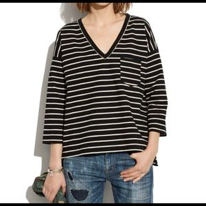 MADEWELL Striped Shirt with Zipper Detailing